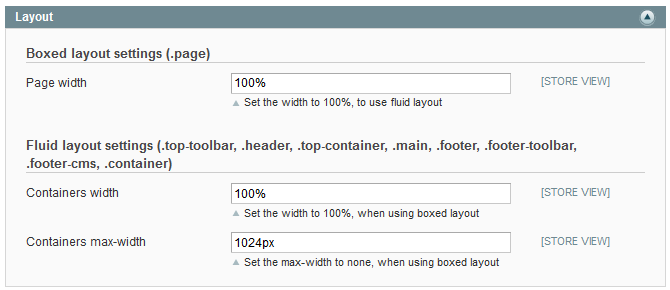 Layout settings