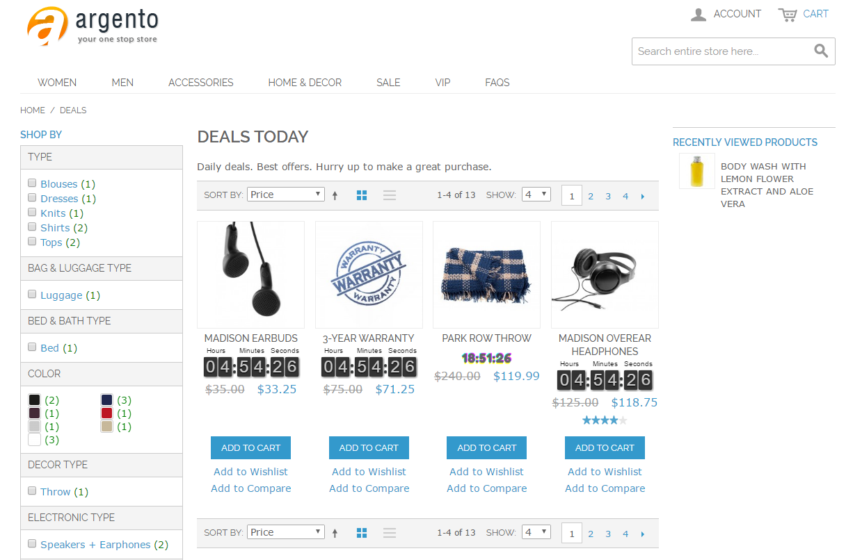 Deals page example