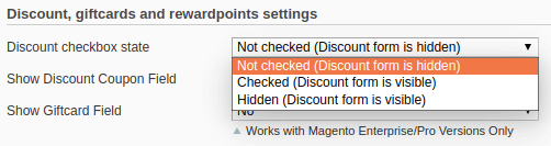 Discount checkbox state