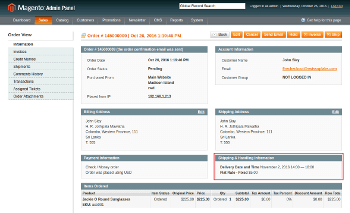 Delivery date at backend order view page
