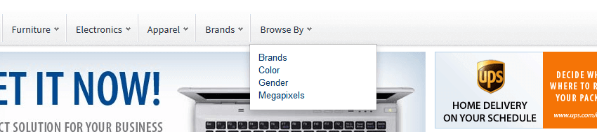 'Browse by' dropdown