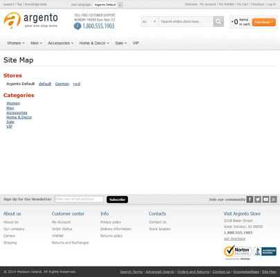 HTML Sitemap on Argento Theme with Categories Max Depth set to 1 and Sort By set to Position