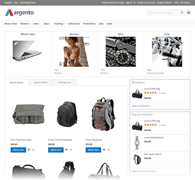 Argento Blank Homepage with set of built-in modules: AjaxSearch, EasyCatalogImages, Highlight Widgets.
