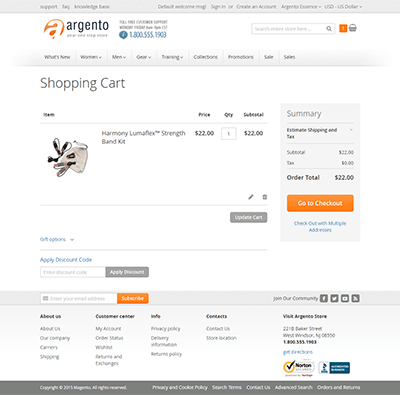 Argento Essence Shopping Cart Page