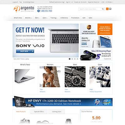 Argento Essence Homepage with set of built-in modules