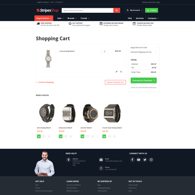 ArgentoStripes shopping cart page