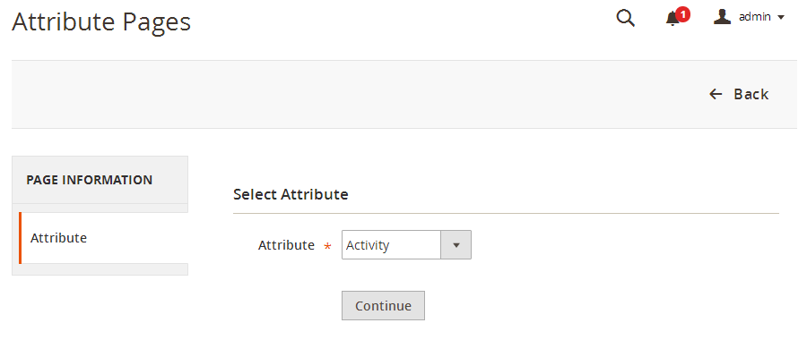 Create attribute page. Step 1