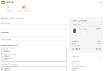 Checkout Fields at standard onepage checkout