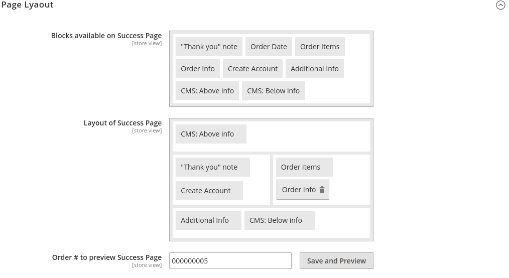 Checkout Success system config layout