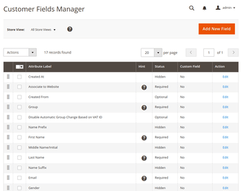 Customer Field Manager grid interface.