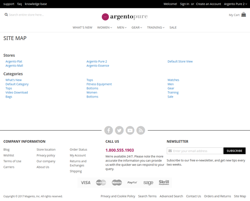 HTML Sitemap on Argento Theme with Categories Max Depth set to 3 and sorted by Position