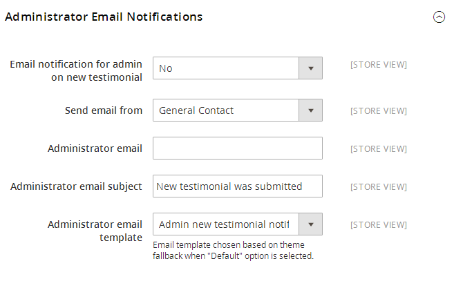 Administrator Email Notifications Section