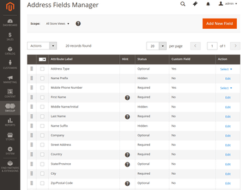 Address Field Manager grid interface.
