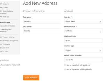 Integration with customer account page.