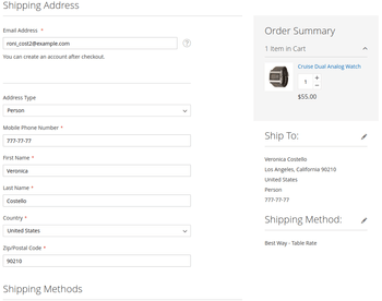 Integration with onepage checkout module.