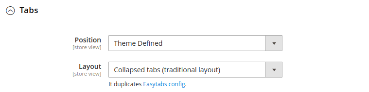 Product tabs config
