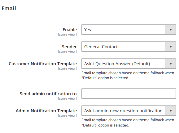 Email Settings Section