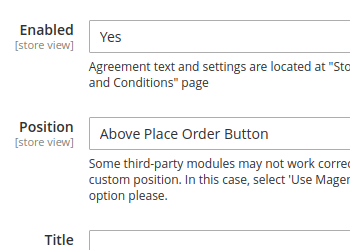 Terms and Conditions configuration