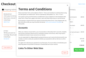 Terms and Conditions popup with 'I Agree' button