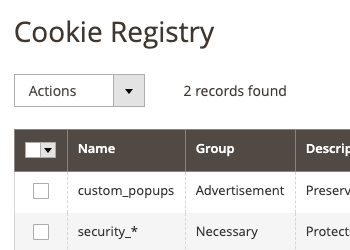 Cookie Registry