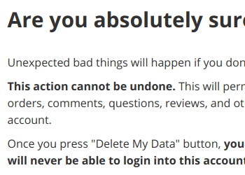 Delete Data Warning