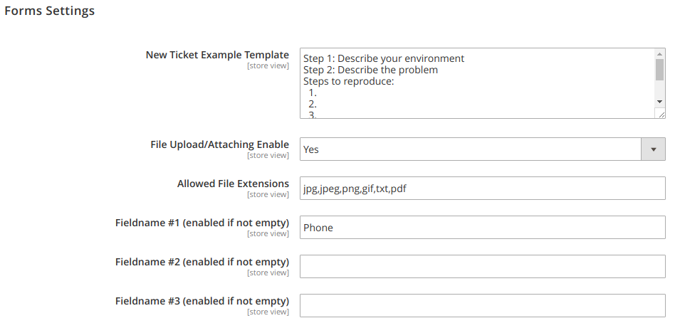 Form Settings Config Section