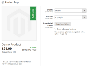 Product page labels config - initial state